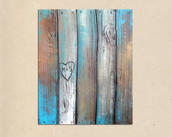 rustic faux wood fence, PAINTING art personalize with names or initials, rustic home decor, rustic wall decor, wedding gift
