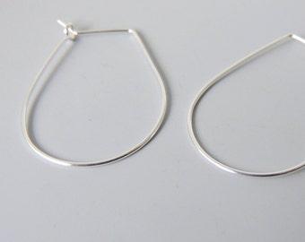 "Drop Shaped Hoops Sterling Silver Lightweight Hoop Earrings 1.25"" inch"