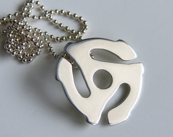45 rpm Adapter Sterling Silver Necklace Retro 70's Necklace