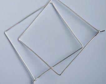 Square Hoops Sterling Silver Square Hoop Earrings 1.5 Inch