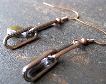 Copper-colored glass and chain earrings