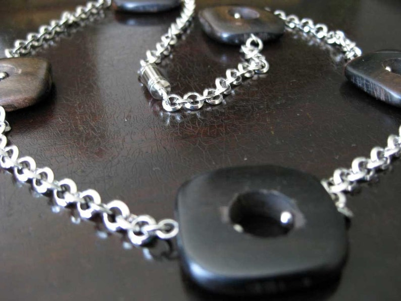 Tiger ebony squares and small circles chain necklace image 0
