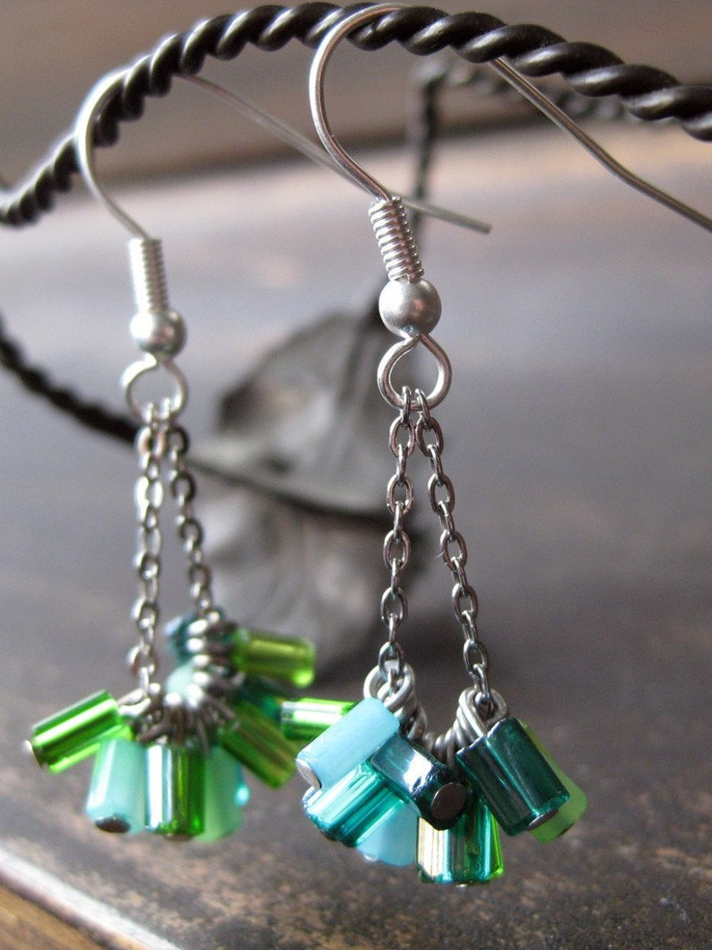 Multi-colored green glass mini bead and chain earrings image 0