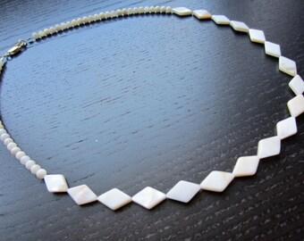 Creamy white diamond-shaped shell necklace