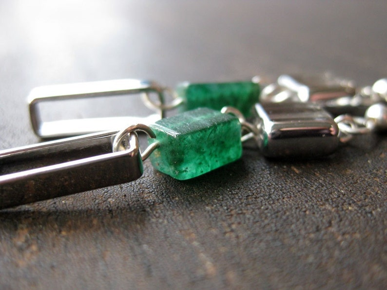 Jade glass and silver-colored chain dangle earrings image 0