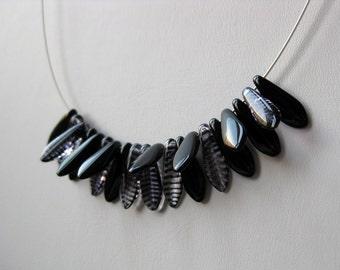 Noir glass sleek modern flapper necklace