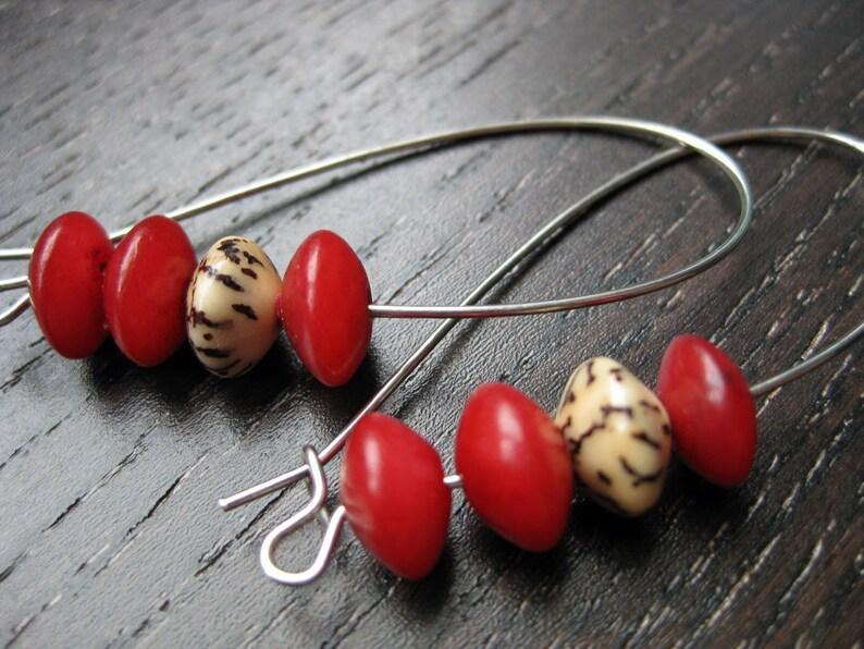 Buri bead accent earrings in crimson image 0