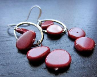 Crimson coral modern earrings
