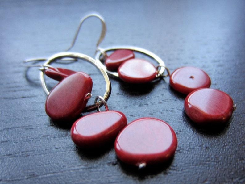 Crimson coral modern earrings image 0