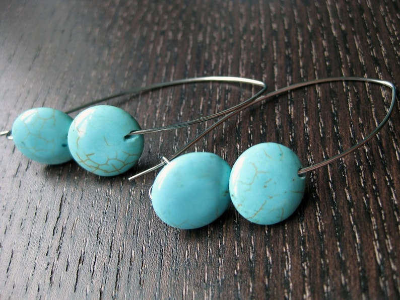 Simply modern turquoise earrings image 0