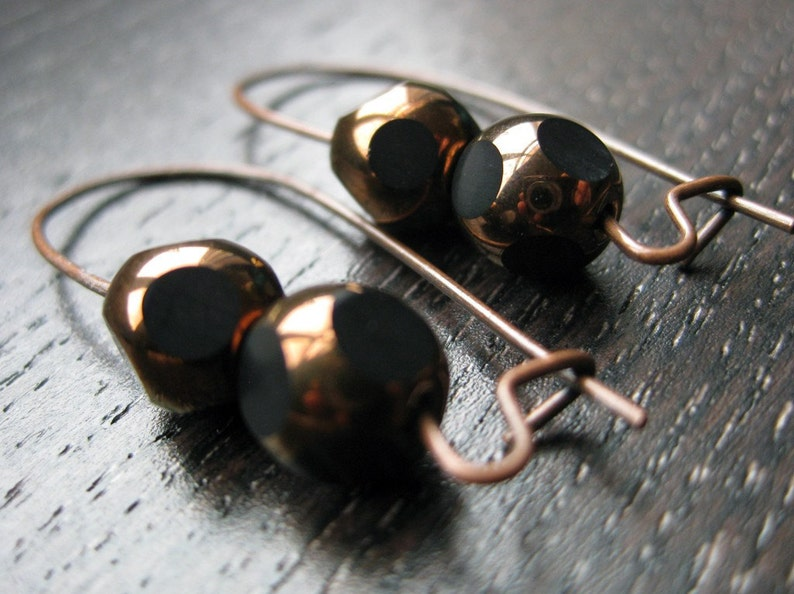 Black and copper glass earrings image 0