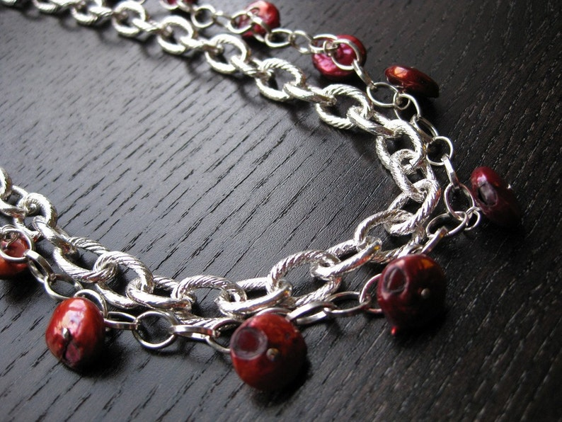 Layered crimson pearl statement necklace image 0