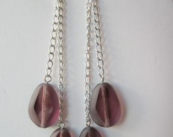 Grape purple dangle earrings