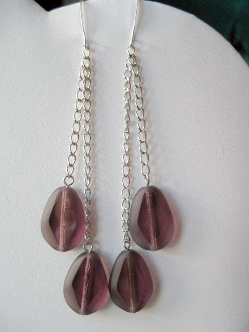 Grape purple dangle earrings image 0