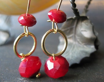 Garnet-colored glass dangle earrings