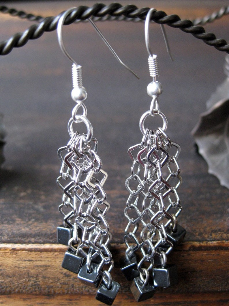 Hematite and diamond-shaped chain earrings image 0