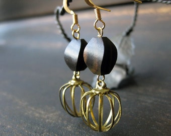 Tiger ebony and brass cage bead earrings