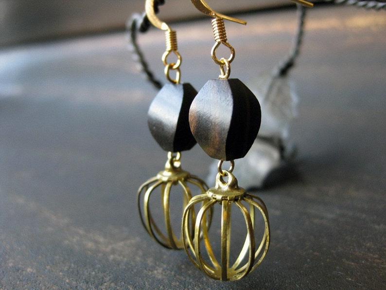 Tiger ebony and brass cage bead earrings image 0