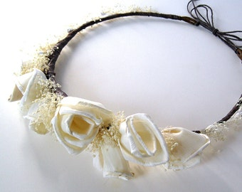 Radiant Beauty flower crown halo or headband rustic ivory bride wedding