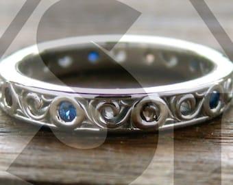 Blue Sapphire & Smokey Quartz Wedding Ring in Palladium with Fine Scroll Work Size 4