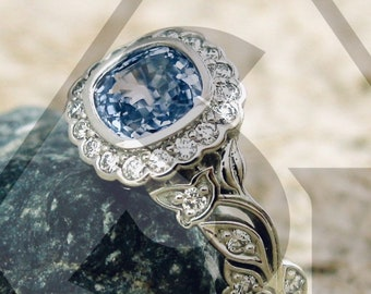 Cornflower Blue Sapphire Engagement Ring in Platinum with Diamonds in Leafs on Vine Setting Size 6