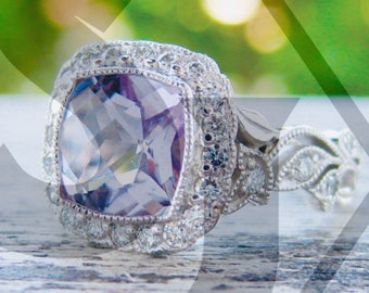 Rose de France Amethyst Engagement Ring in 14K White Gold with Diamonds in Flower Buds and Leafs on Vine Size 4