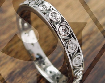 Diamond Wedding Ring in Palladium with Fine Floral Scroll Motif Eternity Style Size 6