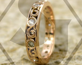 Elegant Spiral Wedding Ring with Diamonds in 14K Rose Gold with Fine Scroll Detail Size 5