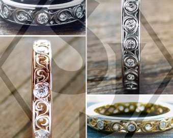 Order Your Custom Made Wedding or Anniversary Ring with Diamonds and Scrolls Here - For Deposit Only
