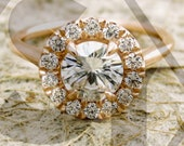 Forever One Moissanite Engagement Ring with Natural Diamonds in 14K Rose Gold Halo-Style Setting Size 6