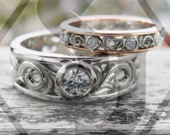 Eternity Diamond Wedding Ring Set in Platinum and 18K Rose Gold with Fine Scroll Detail Sizes 5 & 10
