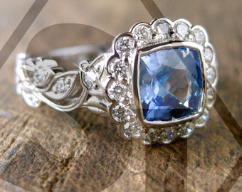 Lavender Blue Sapphire Engagement Ring in Platinum with Diamonds in Flower Buds and Leafs on Vine Size 6