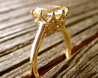 Cushion Cut Lemon Quartz Engagement Ring in 14K Yellow Gold with Scrolls on Basket Size 6
