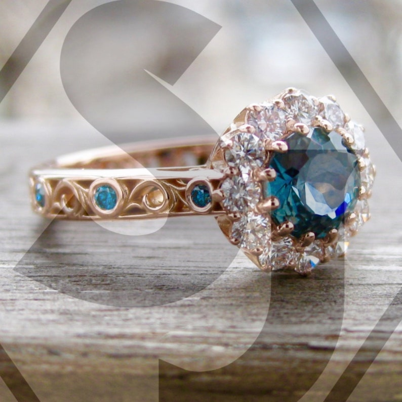 7cdb37589af2e5 Steel Blue Montana Sapphire Engagement Ring with White & Blue   Etsy