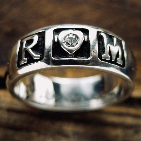 Con RomeoJuliet Testo Anello Personalizzato Taglia Finitura Incisione Smalto Nero In Amo' 7 Diamanti Sposa 'ti E Argento O YHE2WDI9e