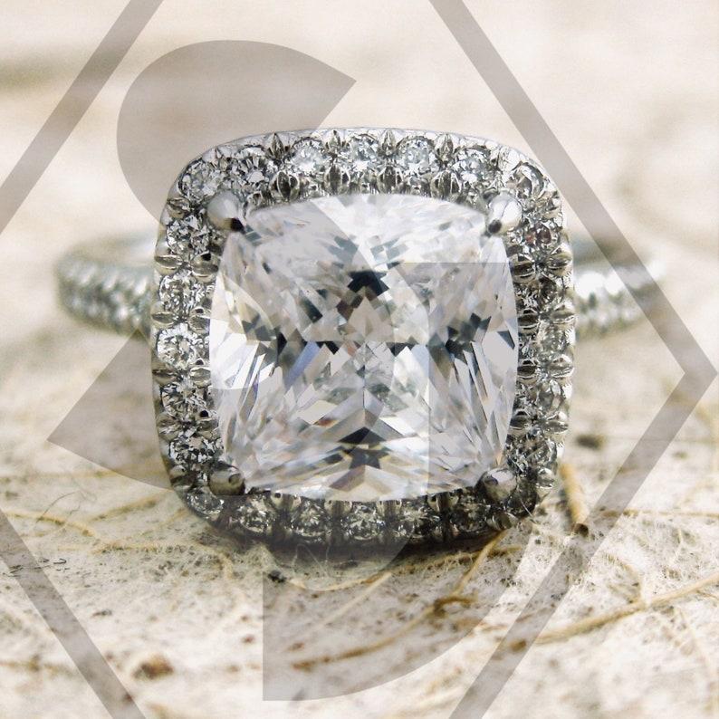 Custom Made Micro Pave Diamond Engagement Ring in Platinum image 0