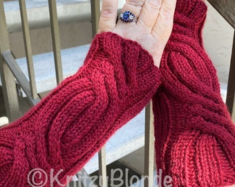 Outlander Claire Gauntlets, Fingerless Wool Mitts, 6 Custom Colors