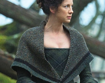 Outlander Shawl, Rent Shawl, Claire Fraser, Triangle Tweed Highlands Wool, Made to Order