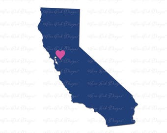 California Heart SVG DXF PNG for Cameo, Cricut & other electronic cutters