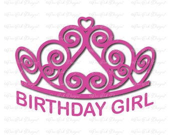 Tiara Birthday Girl svg dxf png pdf jpg for Cameo Cricut & other electronic cutters