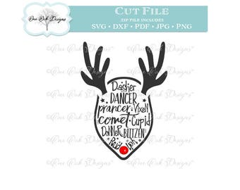 Reindeer SVG File PDF / dxf / jpg / png / Reindeer Names small SVG File for Cameo, Cricut & other electronic cutters