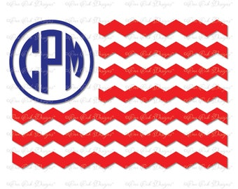 Chevron Flag Monogram Frame SVG File svg / DXF / PDF / jpg for Cameo Cricut & Other Electronic Cutters