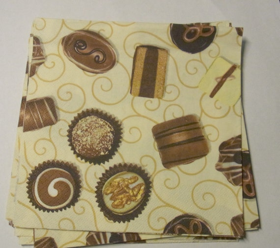 317 Chocolates Diseño Pasteles 4 Solo Papel Decoupage Servilletas