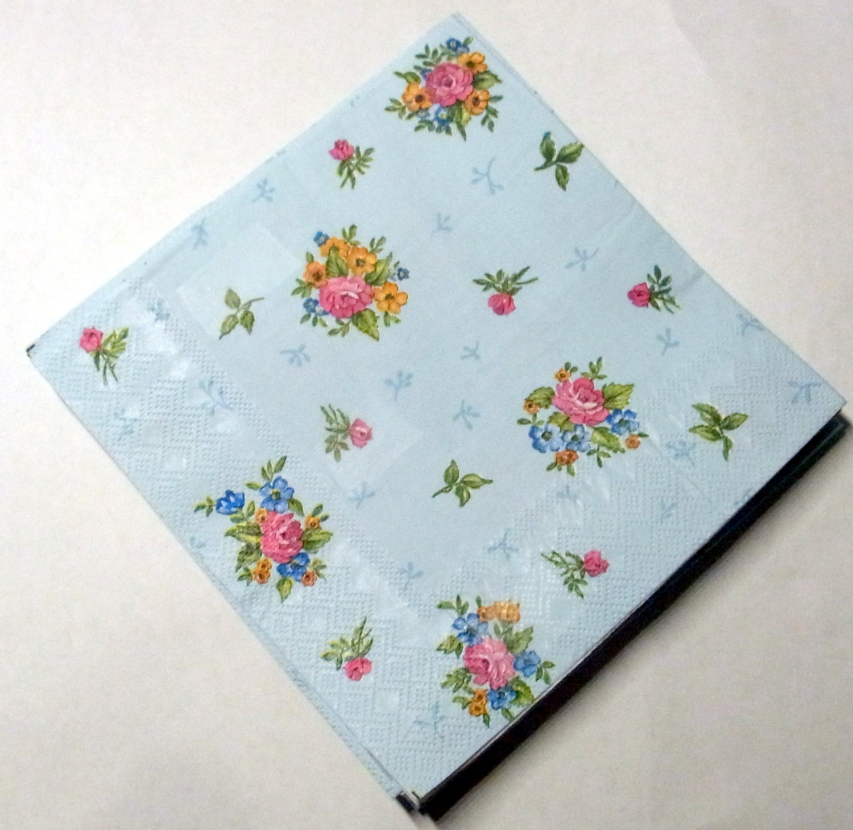 Decoupage Napkins Retro Vintage Paper Napkins Flower Etsy