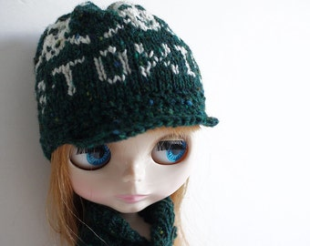 Hand Knitted and Crochet Fair Isle Cap for Blythe - Toxic and Poisonous