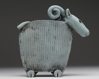 Ram Vessel, Small ceramic vessel, hand made, patina finish, one of a kind