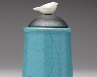 Ceramic Bird jar, white, black, handmade pottery jar, Little Clay Bird on Jar, raku fired art pottery