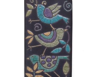Birds ,Ceramic tile,Whimsical,turquoise,green,orange handmade, wall art, home decor 3x6 raku fired art tile