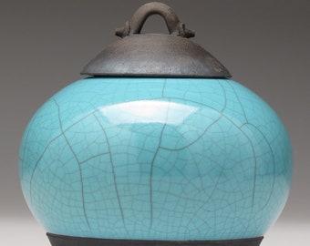 Small Ceramic jar with lid,Raku jar, turquoise blue, handmade, home decor, art pottery