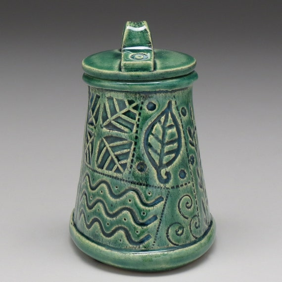 Nature Inspired one of a kind hand made Small ceramic vessel,Lidded Jar,Home Decor glazed patina finish